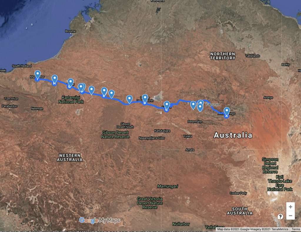 Map of The Gary Junction Road, NT & WA.