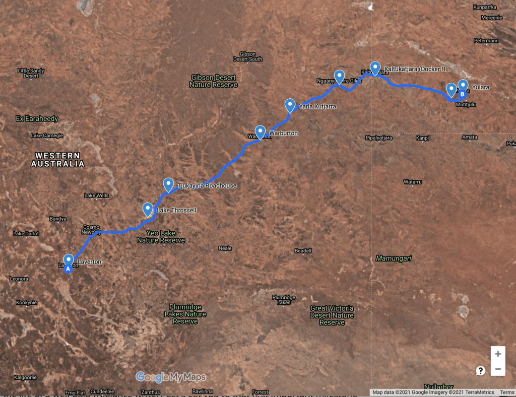 Map of The Great Central Road, WA & NT.
