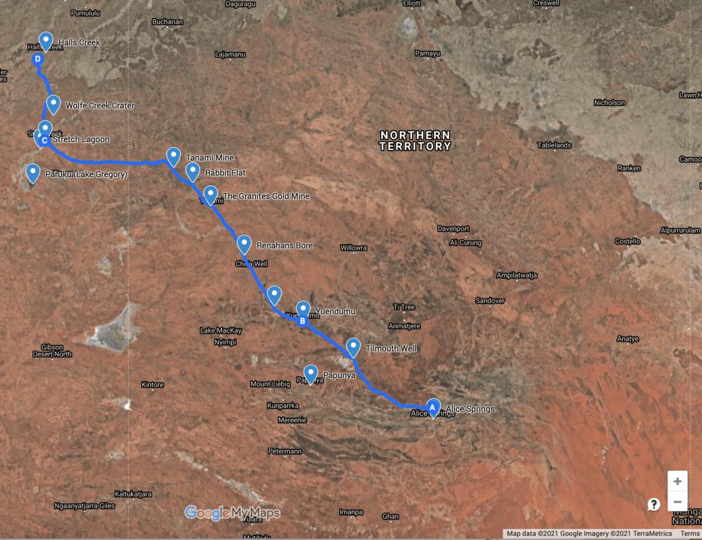 Map of the Tanami Road, NT & WA.