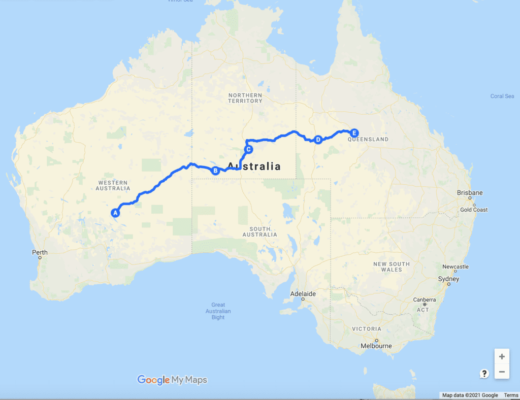 Map of The Outback Way, WA, NT & QLD.