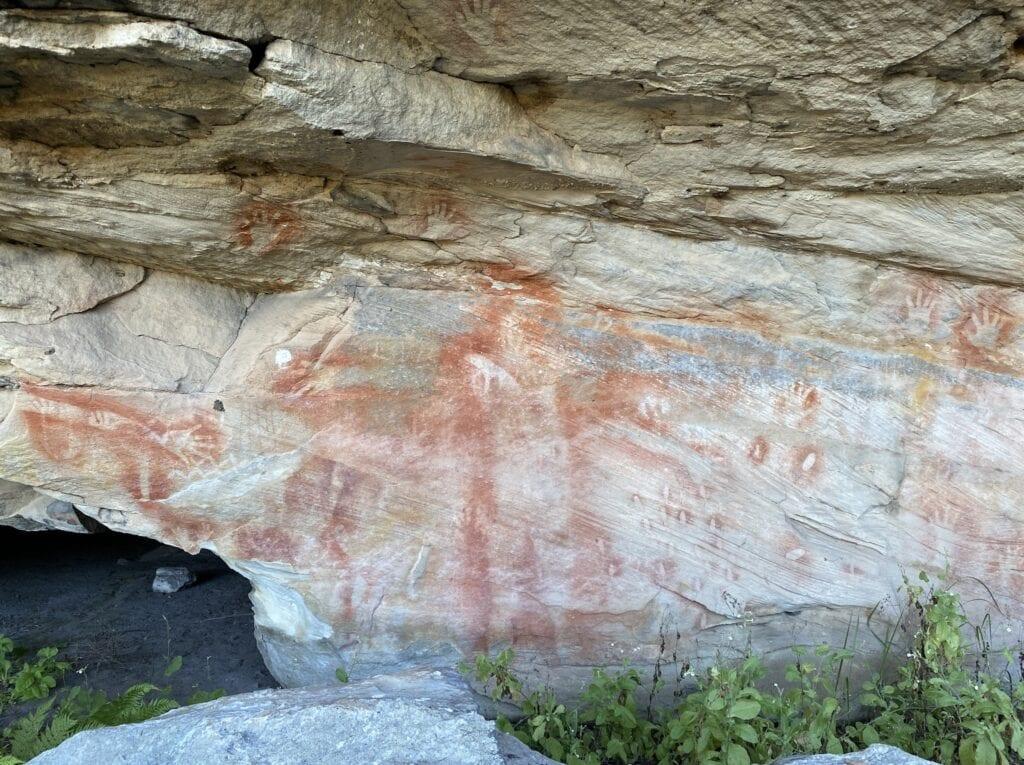 An aboriginal stencil of a man at Mount Moffatt, Carnarvon Gorge National Park, QLD.