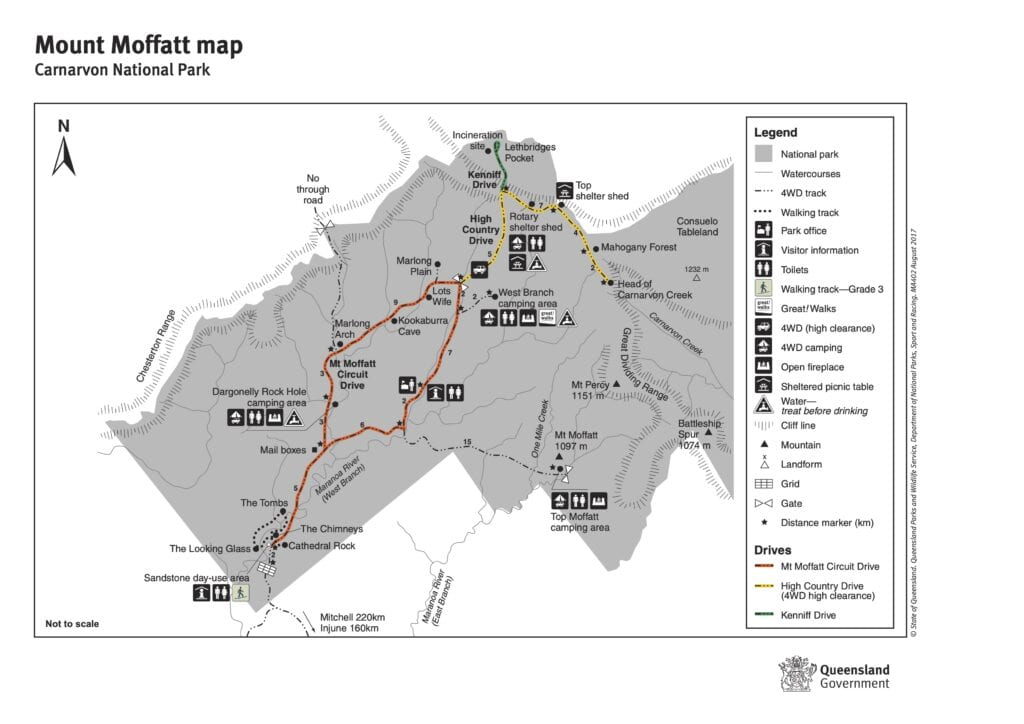 Map of Mount Moffatt section of Carnarvon Gorge National Park, QLD.