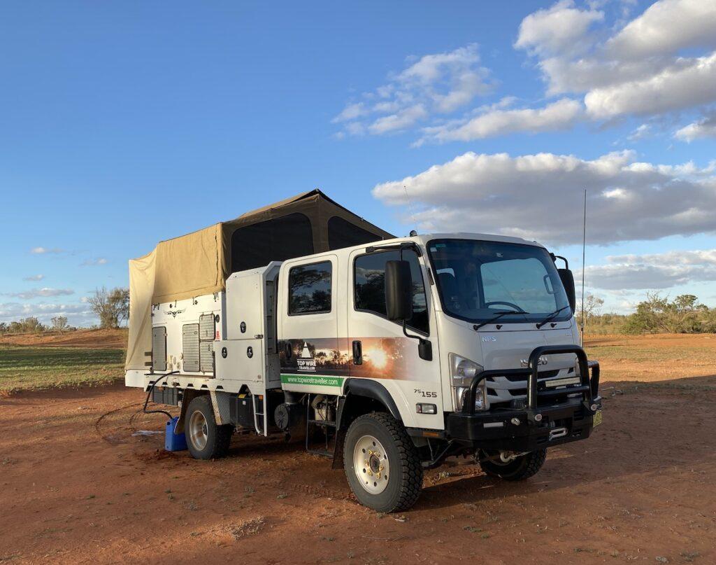 Isuzu 4WD truck camper in western NSW.