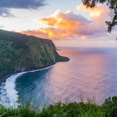 Waipio Valley Sunset - Hawaii Ocean Photography