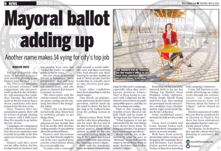 Jan Damery Calgary Sun Mayoral Race Announcement