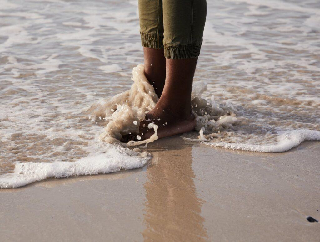 person in beach shore