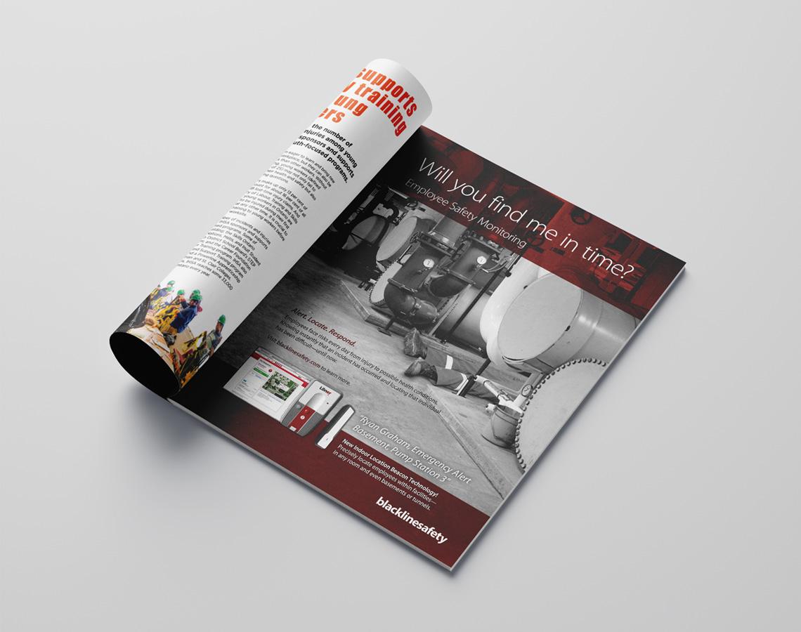 blackline safety ad design in magazine