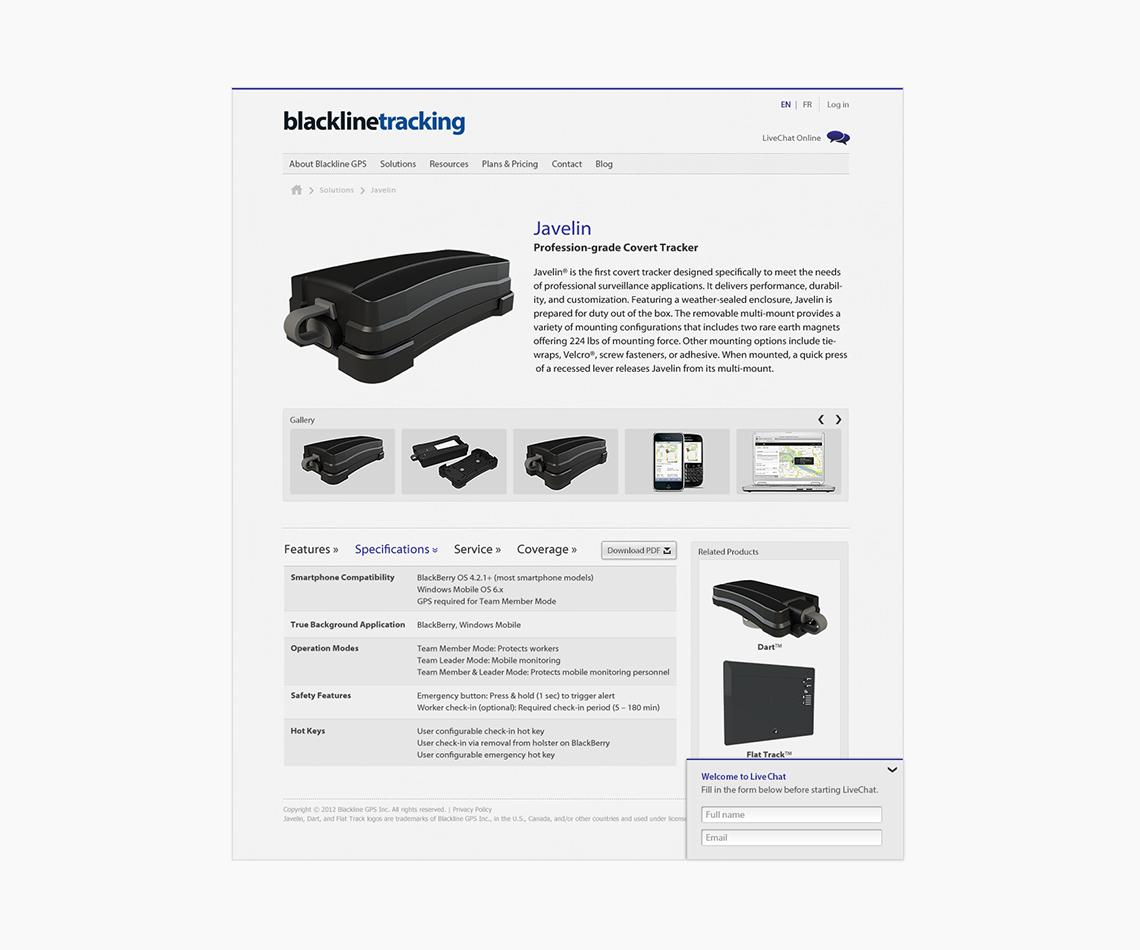 blackline tracking webpage design