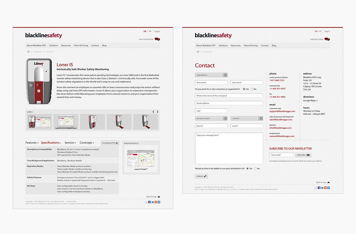 blackline safety web pages design