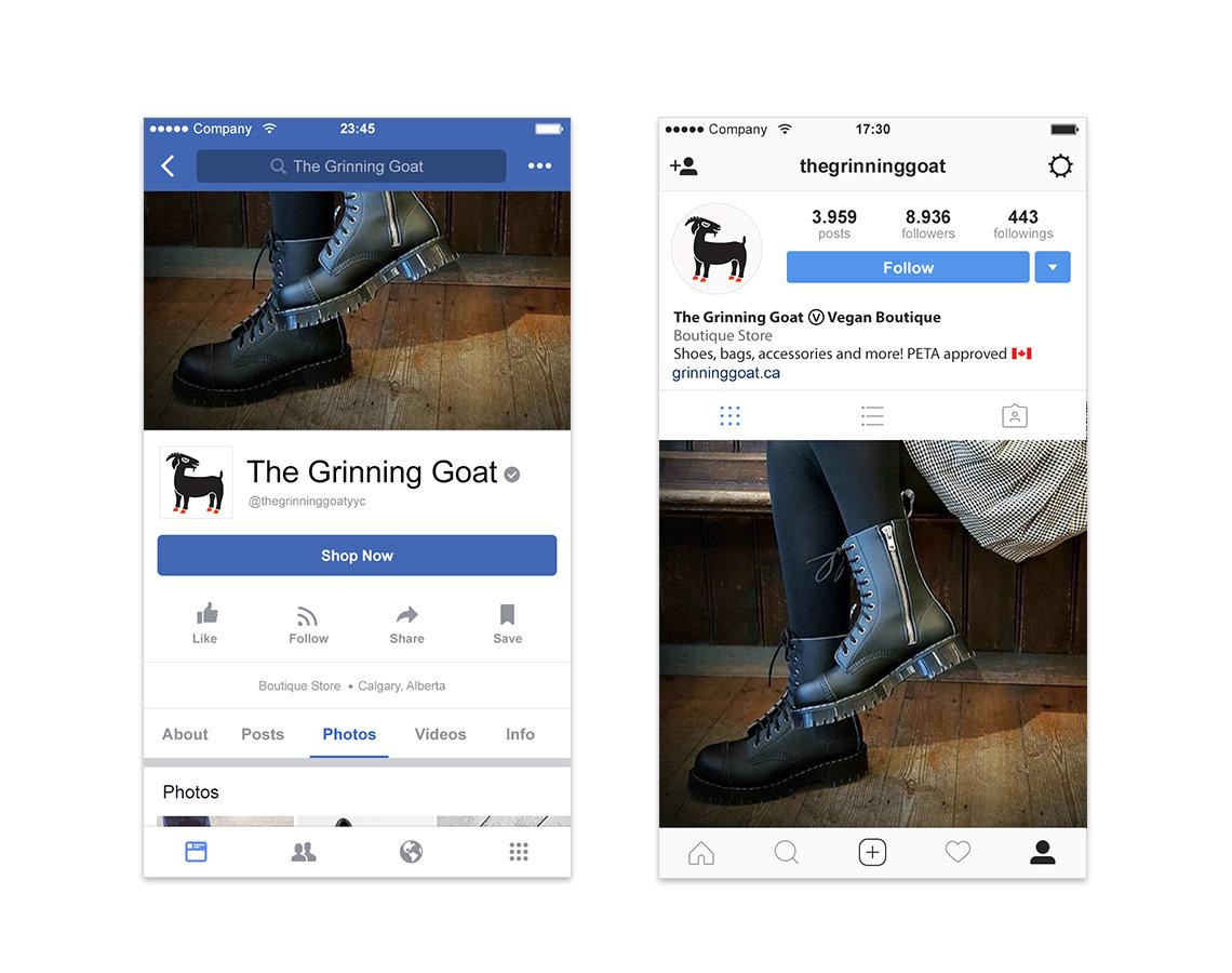 the grinning goat instagram facebook profiles