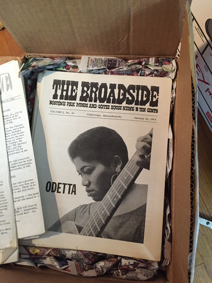 Opening boxes containing the complete run of Broadside magazines
