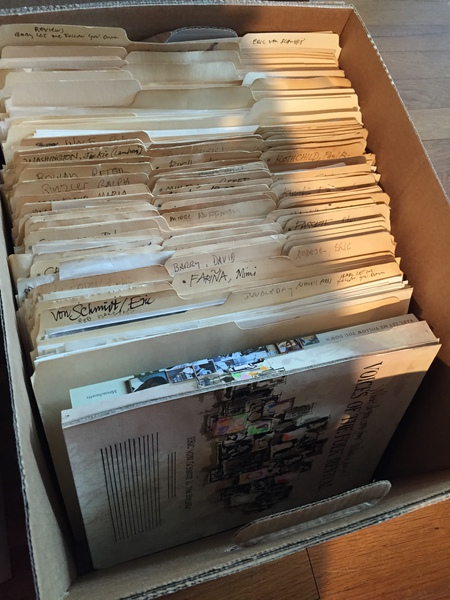 Nicole Cho Joins Preservation Team  The first file box of Club 47 materials, ready for preservation re-housing. (Photo by Nicole Cho)
