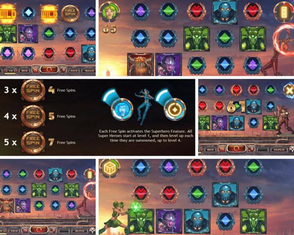 bonus games of super heroes slot game