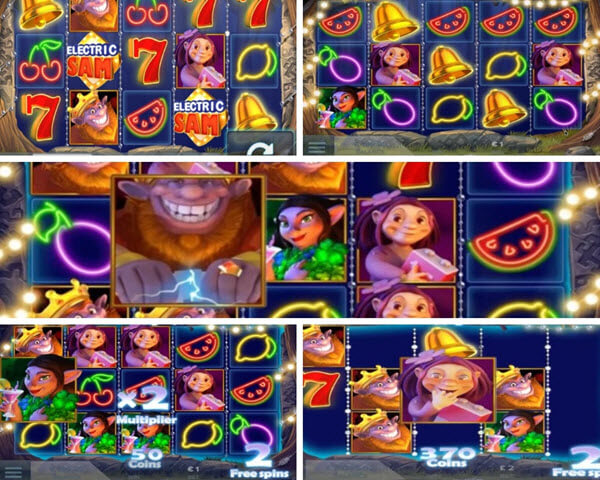 Bonus Rounds of Electric Sam slot game and symbols