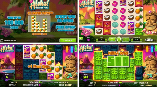 features of Aloha Cluster Pays slot game