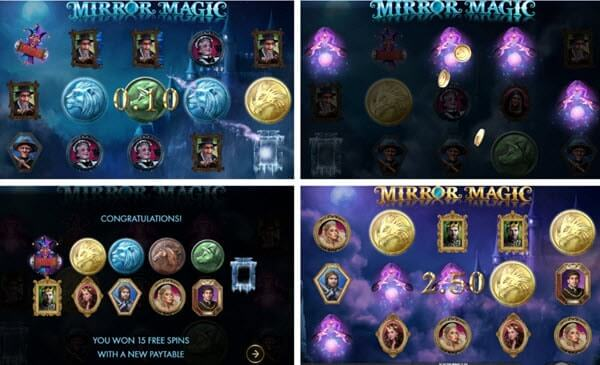 free spin feature and symbols of Mirror Magic Slot Machine