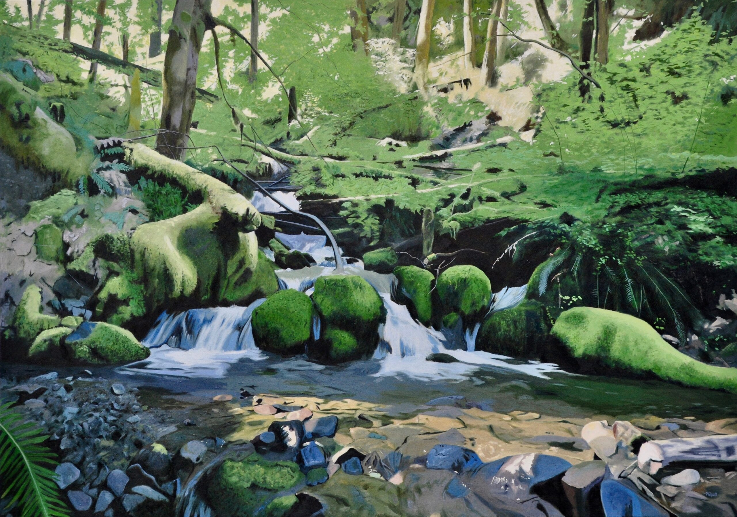 Further Upstream, oil on canvas, 38x54