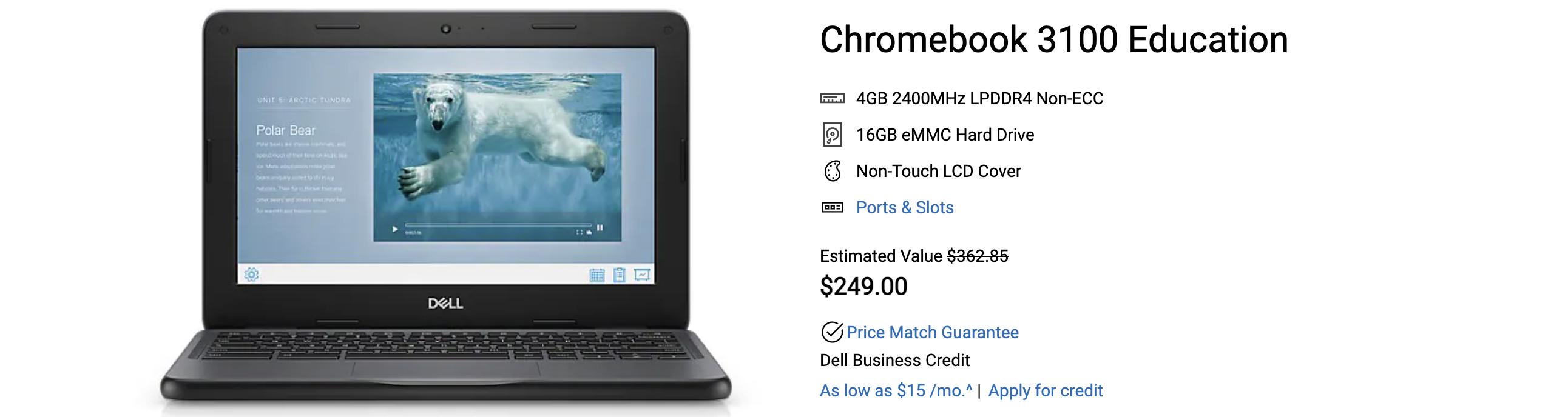The Dell Chromebook 3100