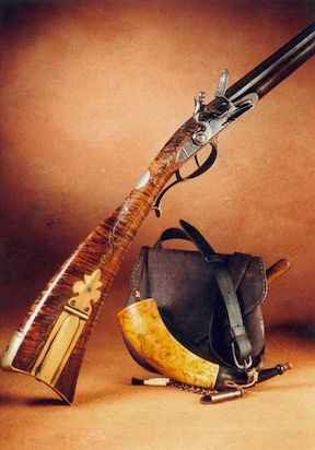 Kentucky rifle with shooting bag