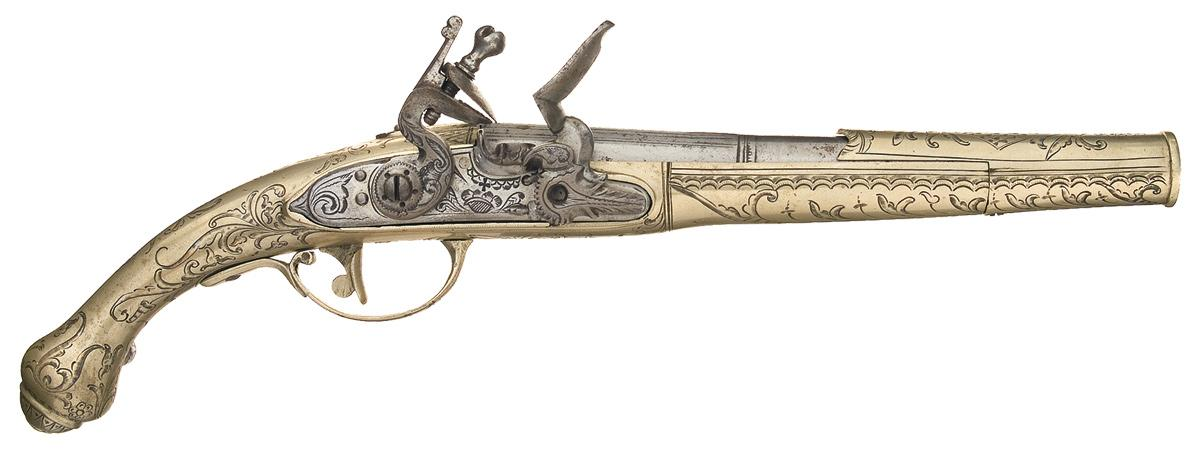 German Silver Flintlock Pistol.