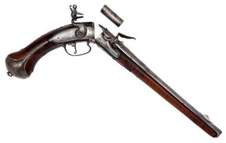 Dole Breech-loading break-action flintlock pistol