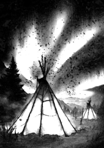 Teepees under the northern lights...