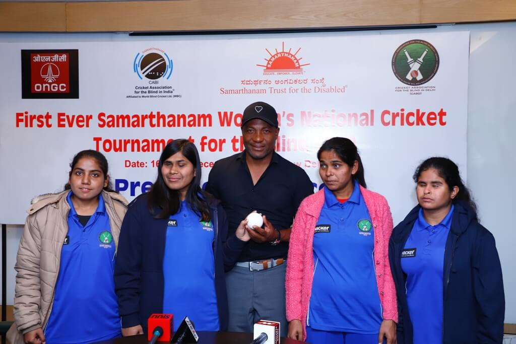 Brian Lara launches the first ever Samarthanam Women's National T20 Cricket Tournament for the Blind in Delhi