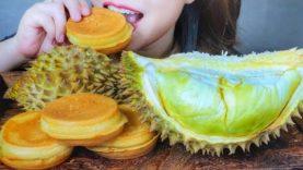 ASMR EATING DURIAN COCONUT PANCAKE X DURIAN , EATING SOUNDS | LINH-ASMR
