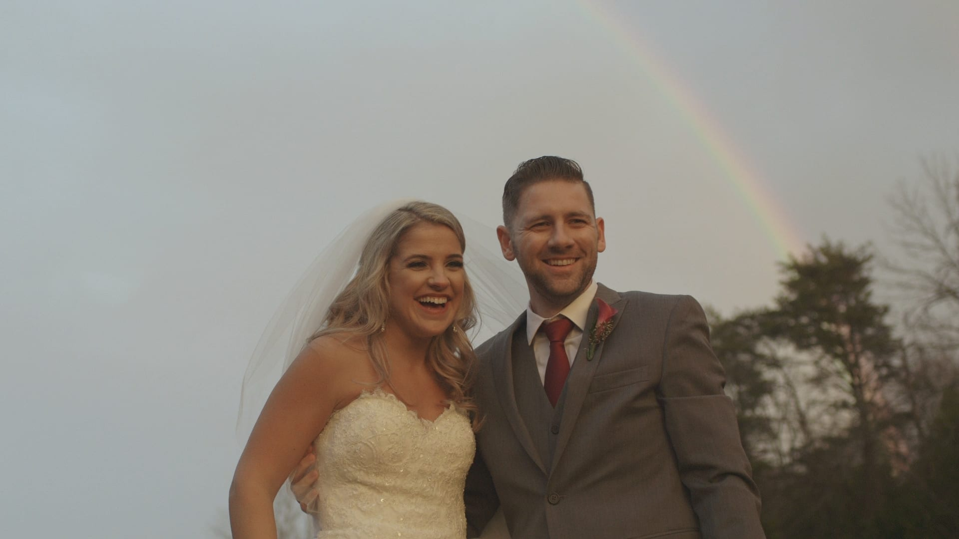 rainbow wedding, wedding pic with rainbow, toy box studios