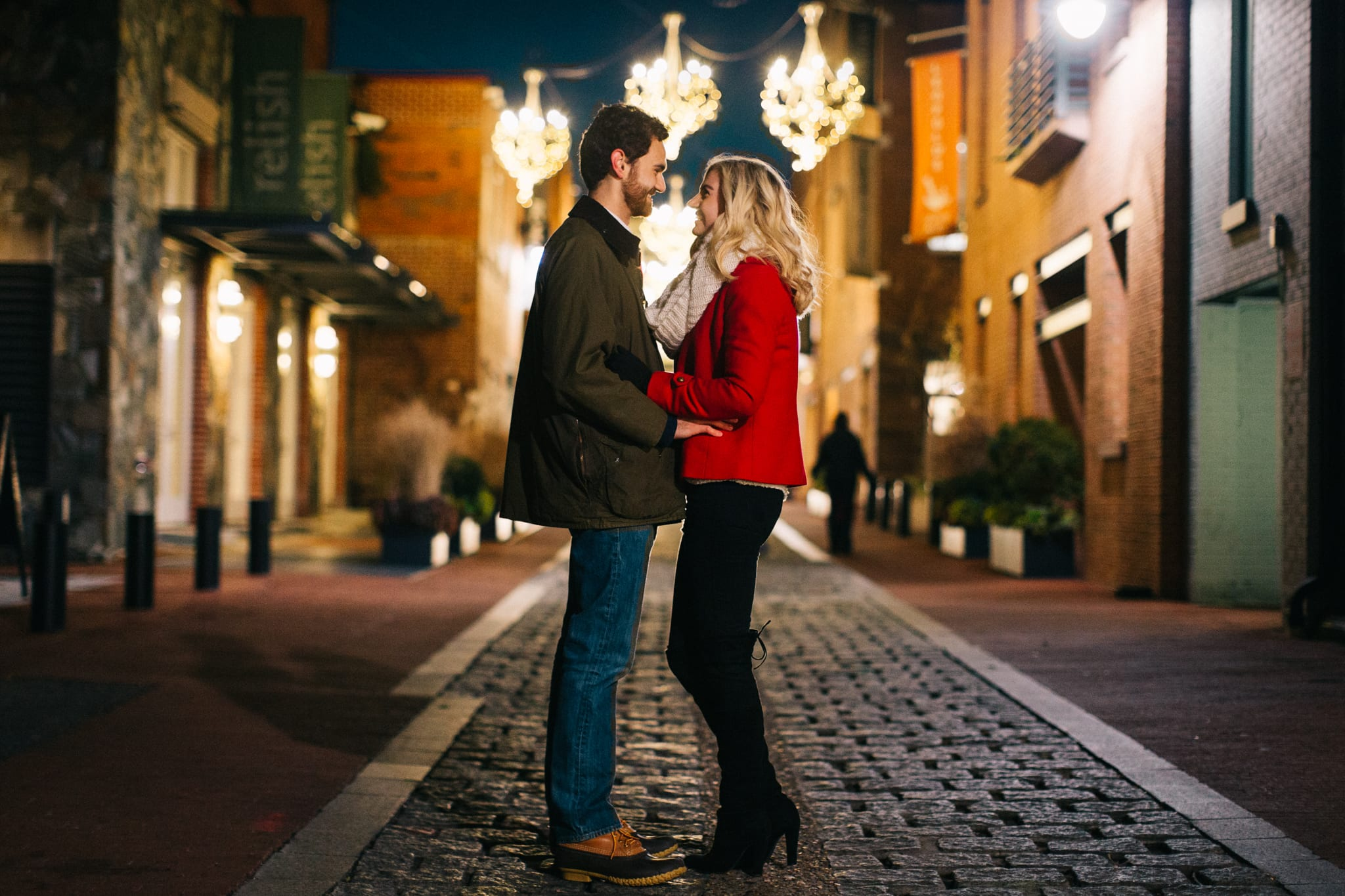 cold engagement pictures, stone pathway, dc area engagement, toy box studios, chandelier engagement