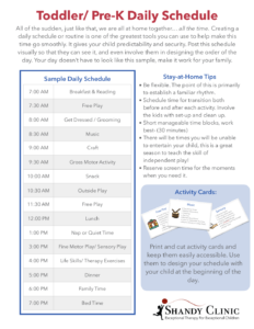 Daily schedule for toddler & pre-k kids