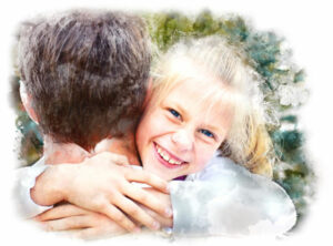Girl hugging parent and smiling in Trauma Informed Care therapy