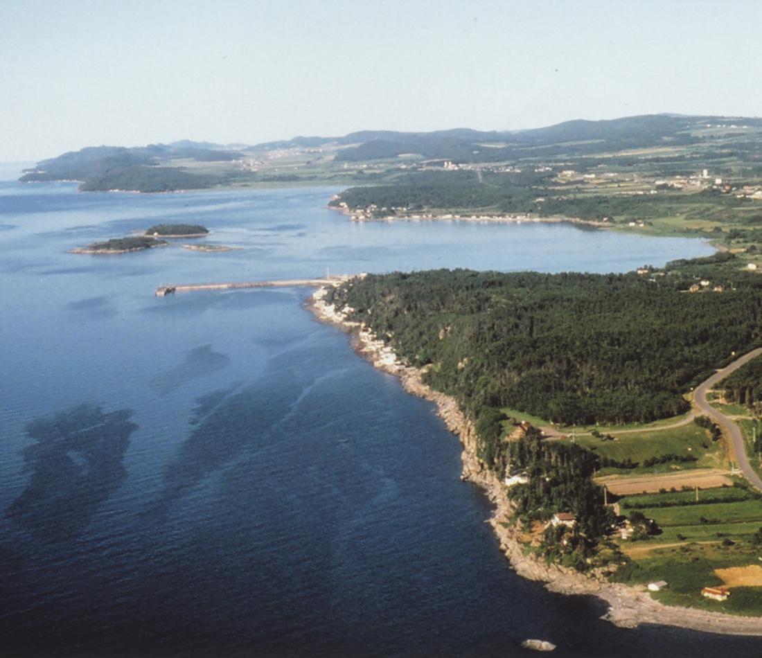 Vue aérienne de la côte du Saint-Laurent dans la région de Rivière-du-Loup - Témiscouata-Les Basques prise par le CLD des Basques.