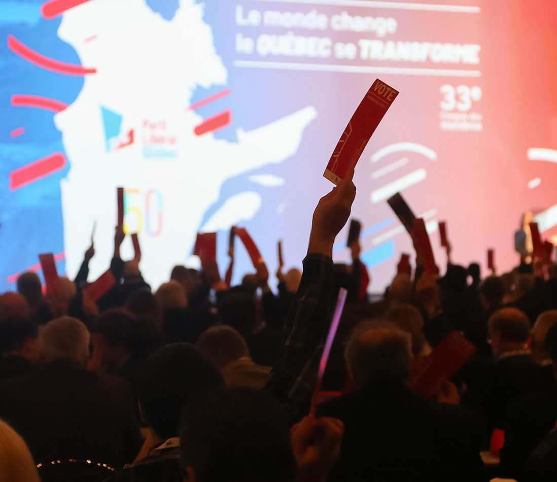 Quebec, Samedi le 25 Novembre 2017. Le 33e congres des membres du Parti Liberal du Quebec.