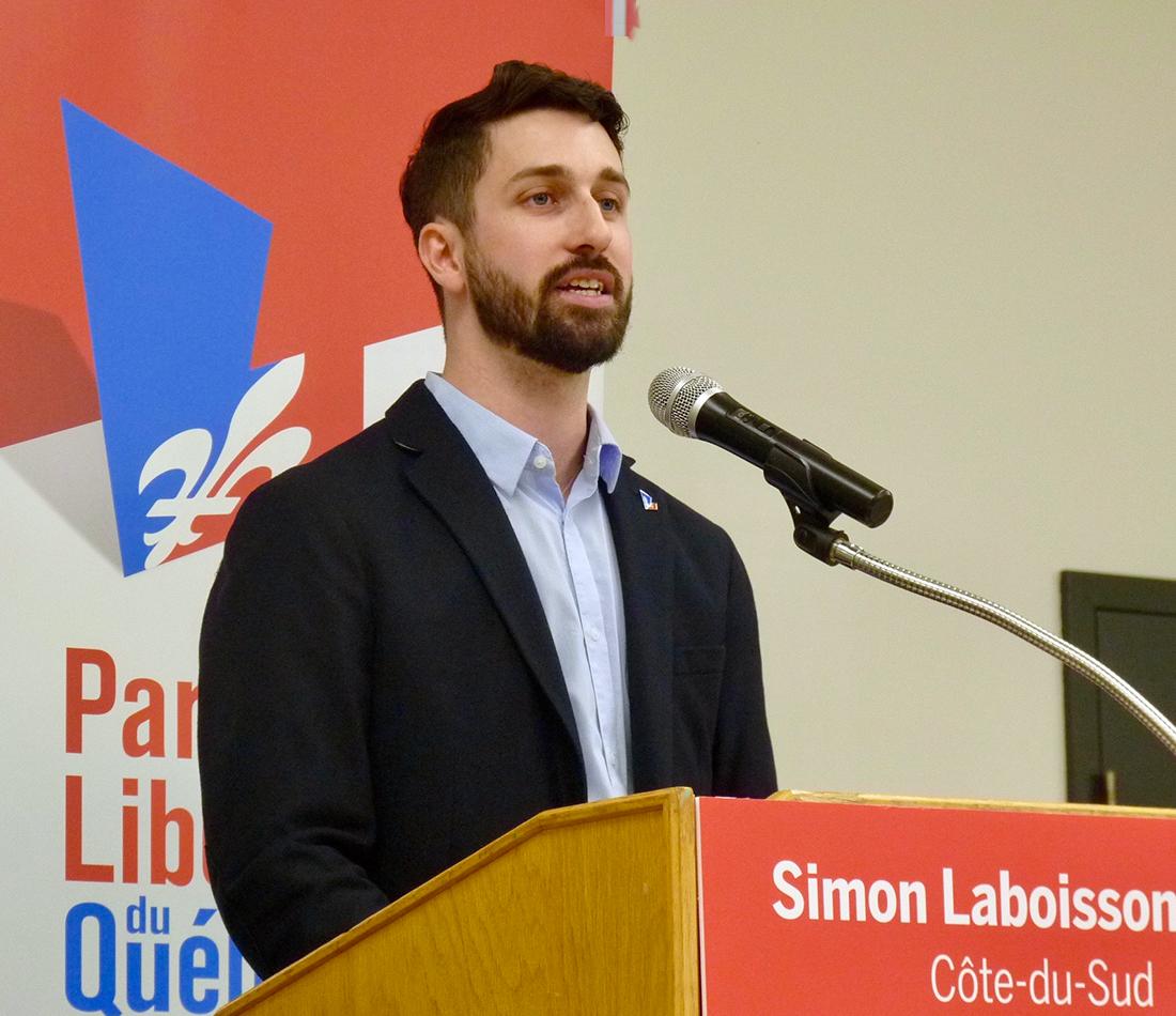 Simon Laboissonnière, Liberal candidate in the riding of Côte-du-Sud
