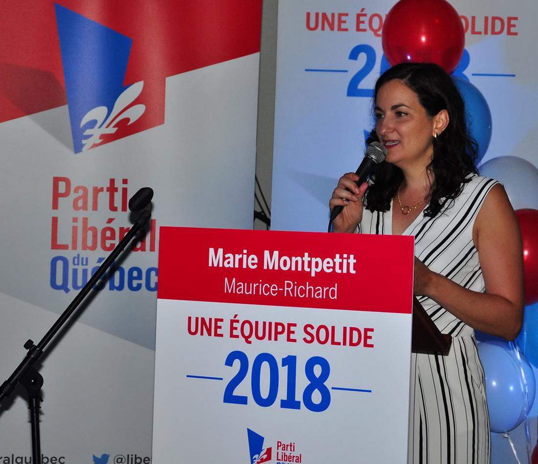 Marie Montpetit, candidate libérale dans la circonscription de Maurice-Richard