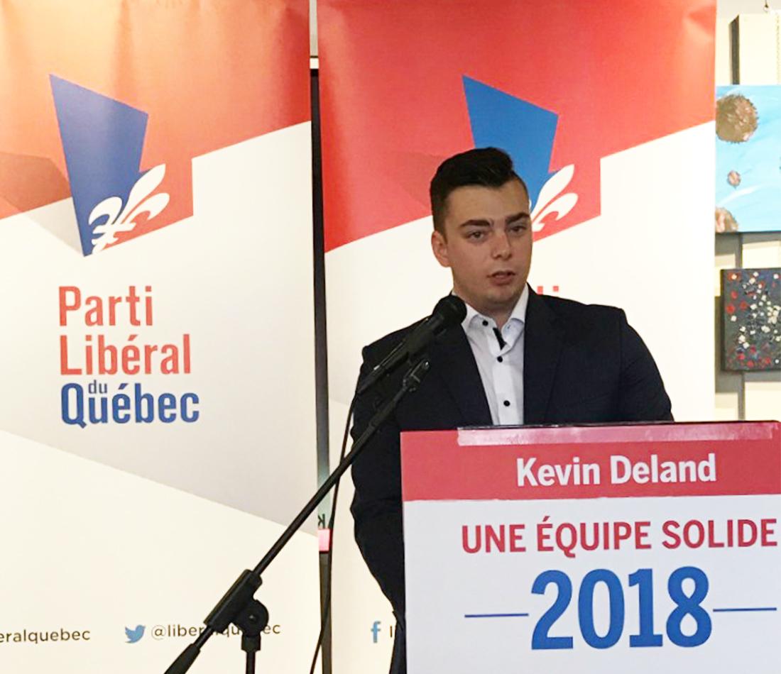 Kevin Deland, candidat libéral dans la circonscription de Drummond–Bois-Francs