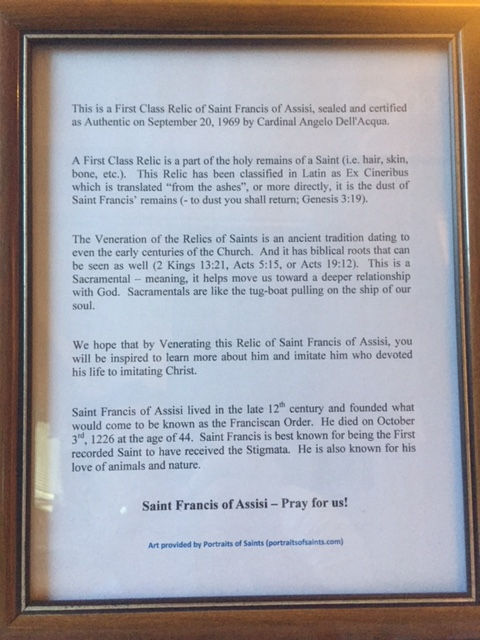 Saint Francis Relic Info