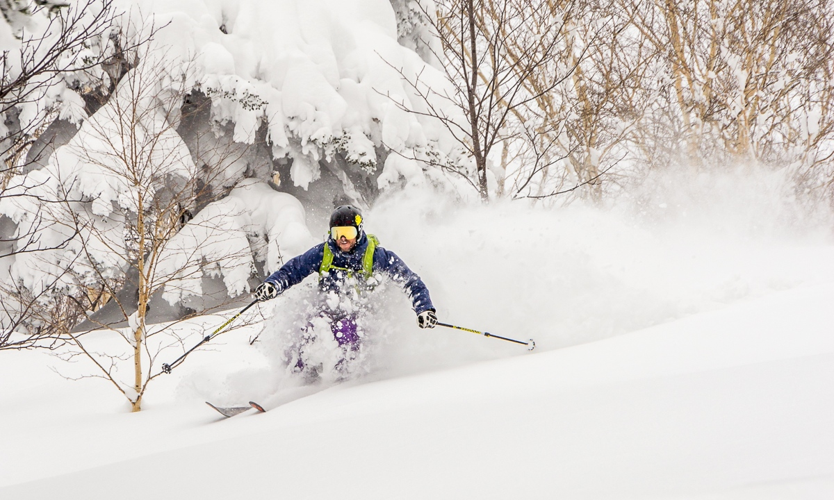 James Winfield floating in the powder at Furanodake