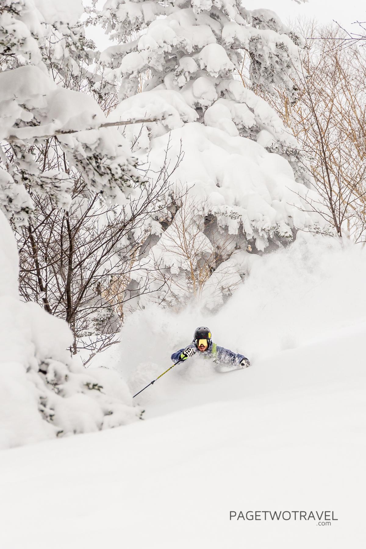 James Winfield enjoying the powder turns at Furanodake