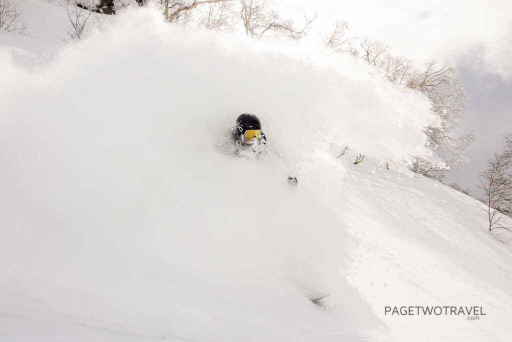James Winfield in the powder cloud at Asahidake