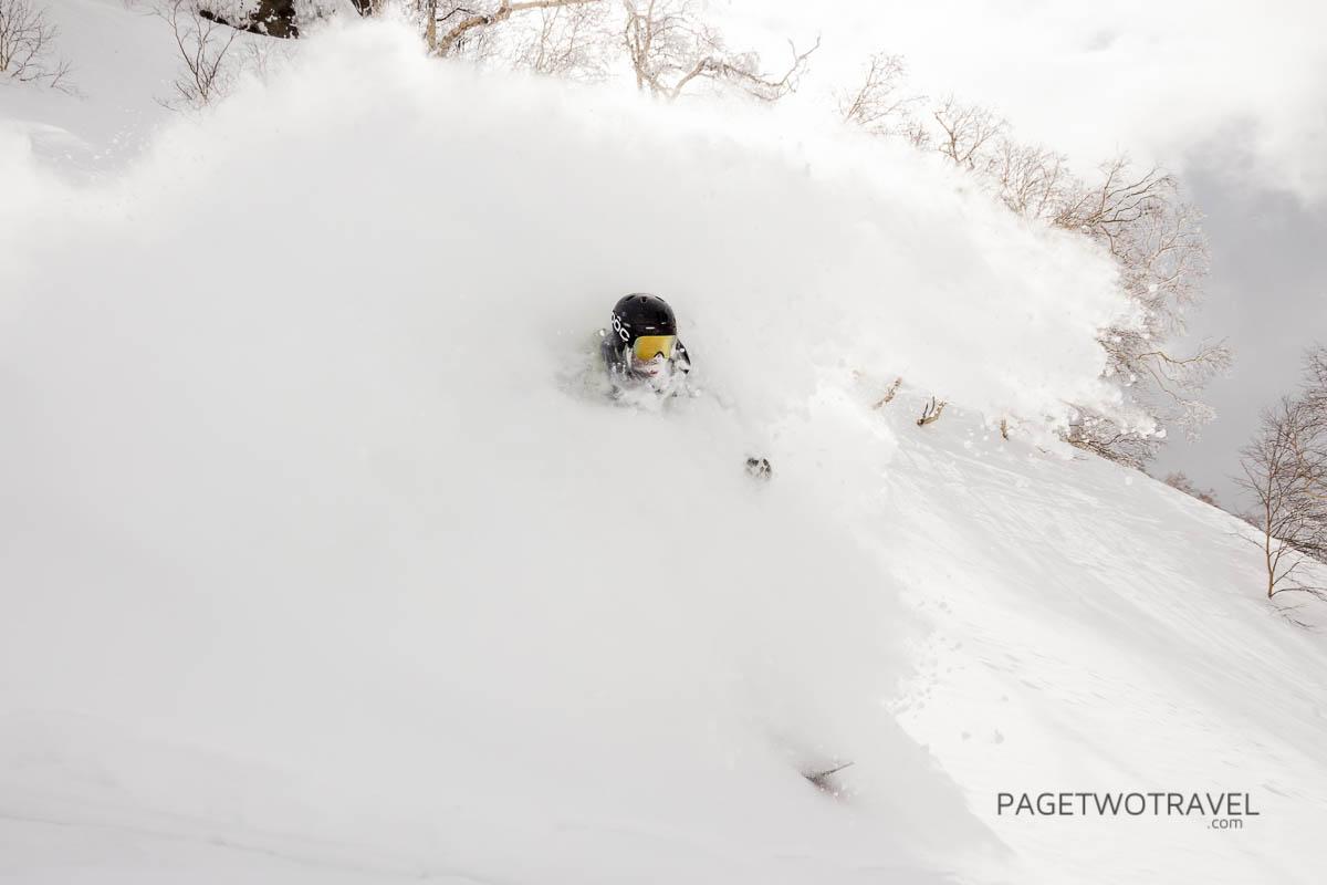 James Winfield in the powder cloud at Asahidake