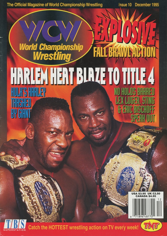 Cover of WCW Magazine from December 1995 ft. Harlem Heat as tag team champions.