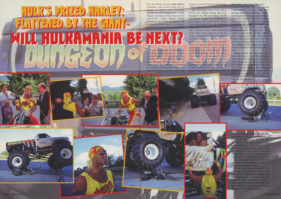 Two-page spread covering The Giant's monster truck crushing Hulk Hogan's motorcycle.