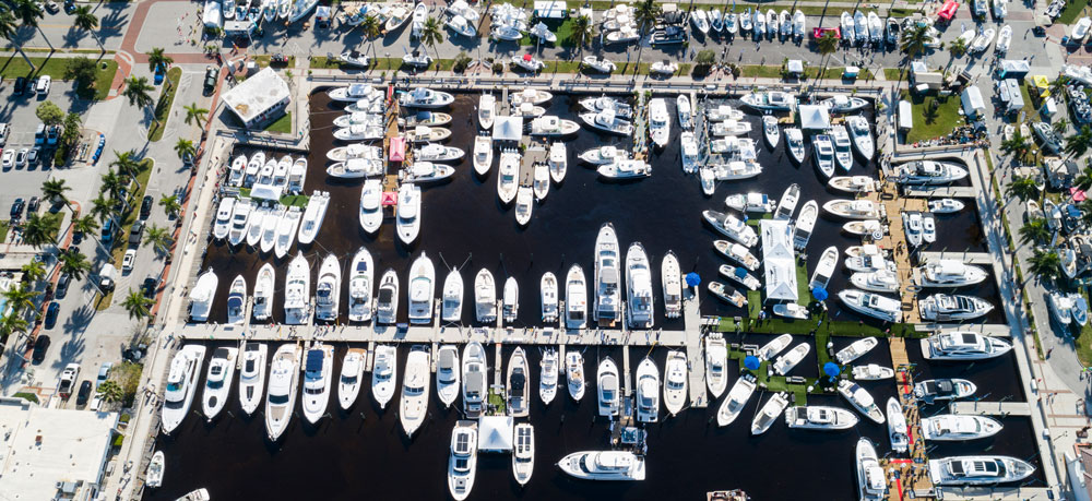 Drone Photo of Fort Myers Boat Show marina layout