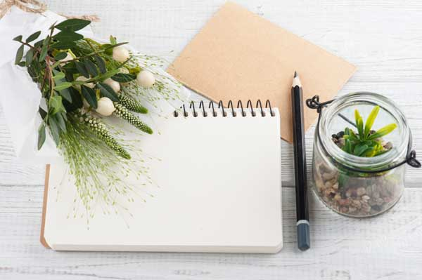 Journal and pencil with flower and a plant beside it