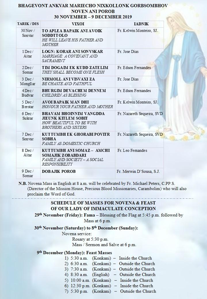Schedule of Novena & Feast Masses
