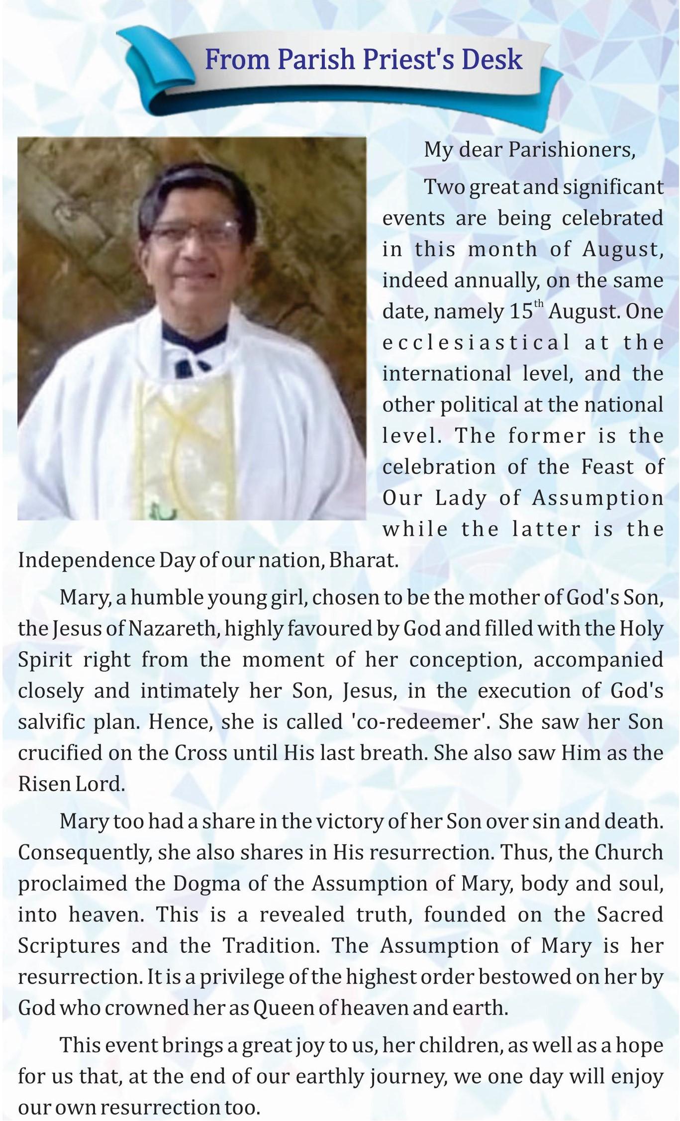 Parish Priest Message