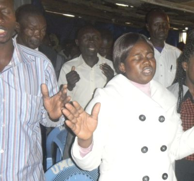 Prayer and worship at the Huruma Tent of Prayer
