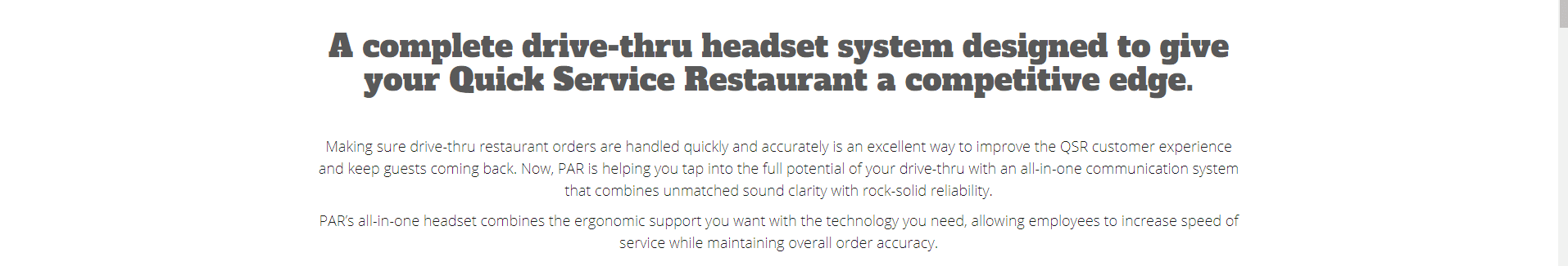 Restaurant Drive-Thru Headsets